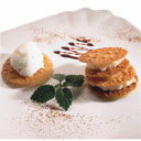 Millefeuille of rice pudding, roasted apple and curd ice-cream